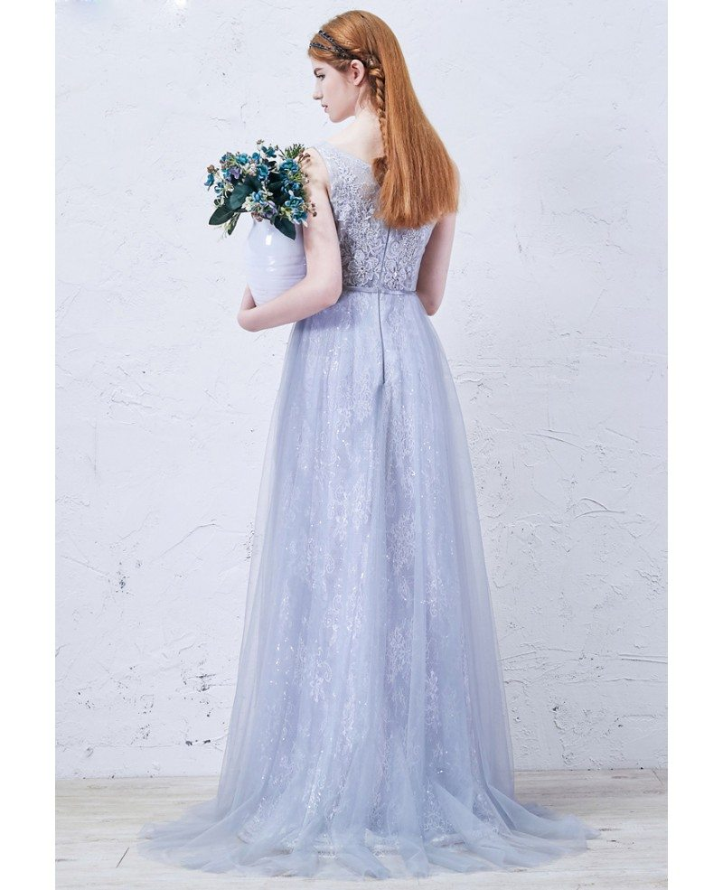 Romantic A Line Scoop Neck Floor Length Lace Tulle Wedding