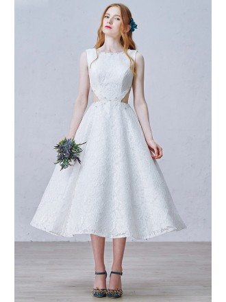 Chic A-Line Scoop Neck Tea-Length Lace Wedding Dress With Beading