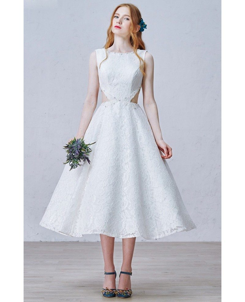 A line lace tea length wedding dresses vintage chic style with chic a line scoop neck tea length lace wedding dress with beading ombrellifo Images