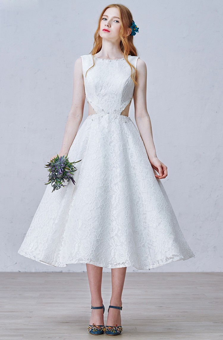 A Line Lace Tea Length Wedding Dresses Vintage Chic Style With ...