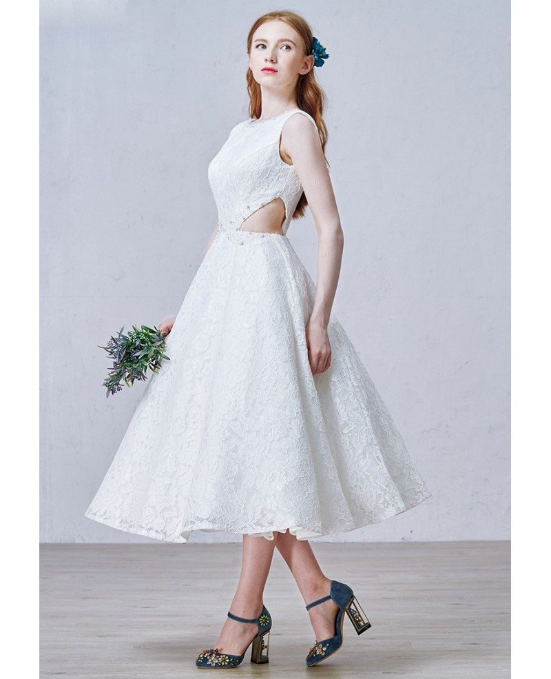 A Line Lace Tea Length Wedding Dresses Vintage Chic Style