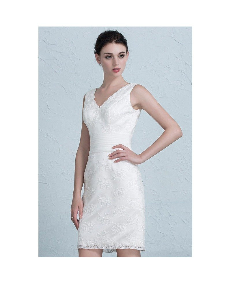 Fitted Lace Short Wedding Dresses Reception Simple Sheath