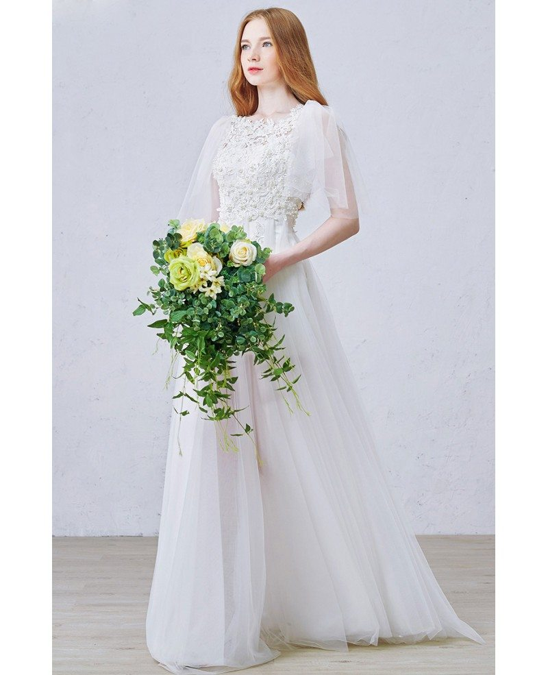 Simple Design Scoop Neck Long Sleeve Long A Line Tulle: Romantic A-Line Scoop Neck Floor-Length Tulle Wedding