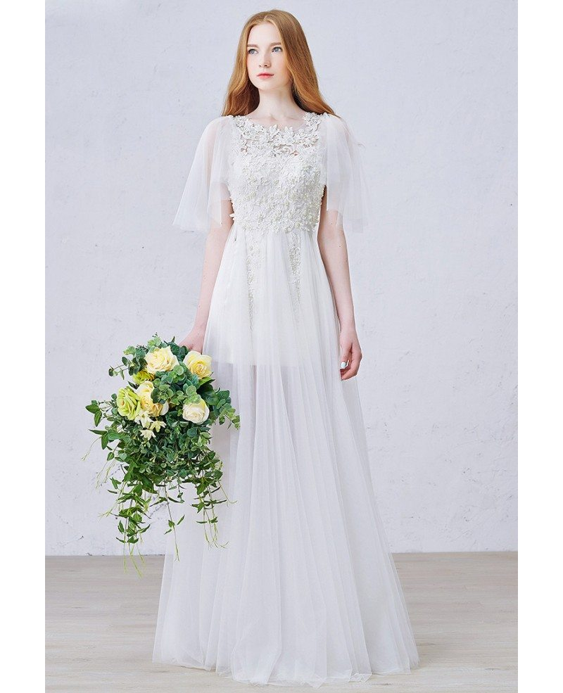 Romantic Wedding Dresses: Romantic A-Line Scoop Neck Floor-Length Tulle Wedding