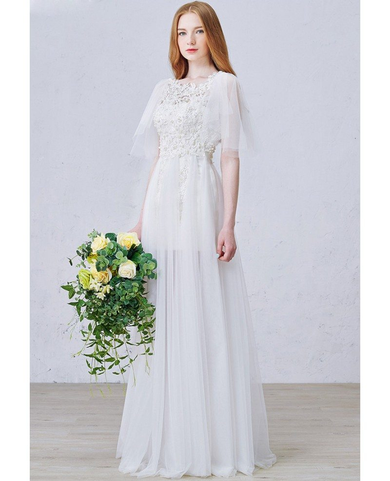 Romantic a line scoop neck floor length tulle wedding for Tulle a line wedding dress