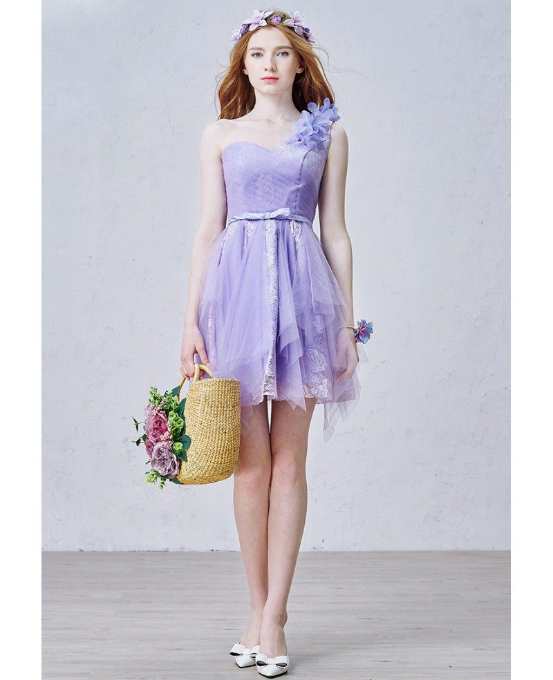 Romantic a line one shoulder short tulle bridesmaid dress for One shoulder short wedding dress