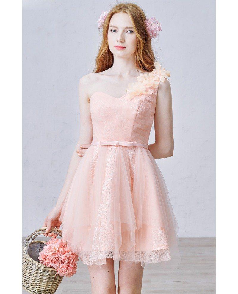 Romantic a line one shoulder short tulle bridesmaid dress for Lace one shoulder wedding dress