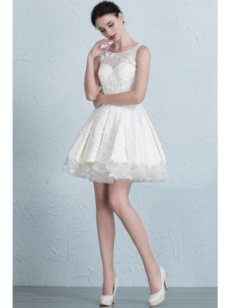 Stylish A-Line Scoop Neck Short Satin Tulle Wedding Dress With Appliques Lace