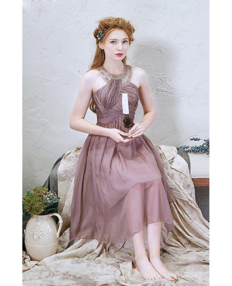 Stylish A-Line Halter Knee-Length Chiffon Bridesmaid Dress