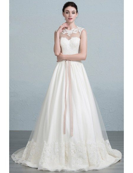 Feminine A-Line Scoop Neck Sweep Train Tulle Wedding Dress With ...