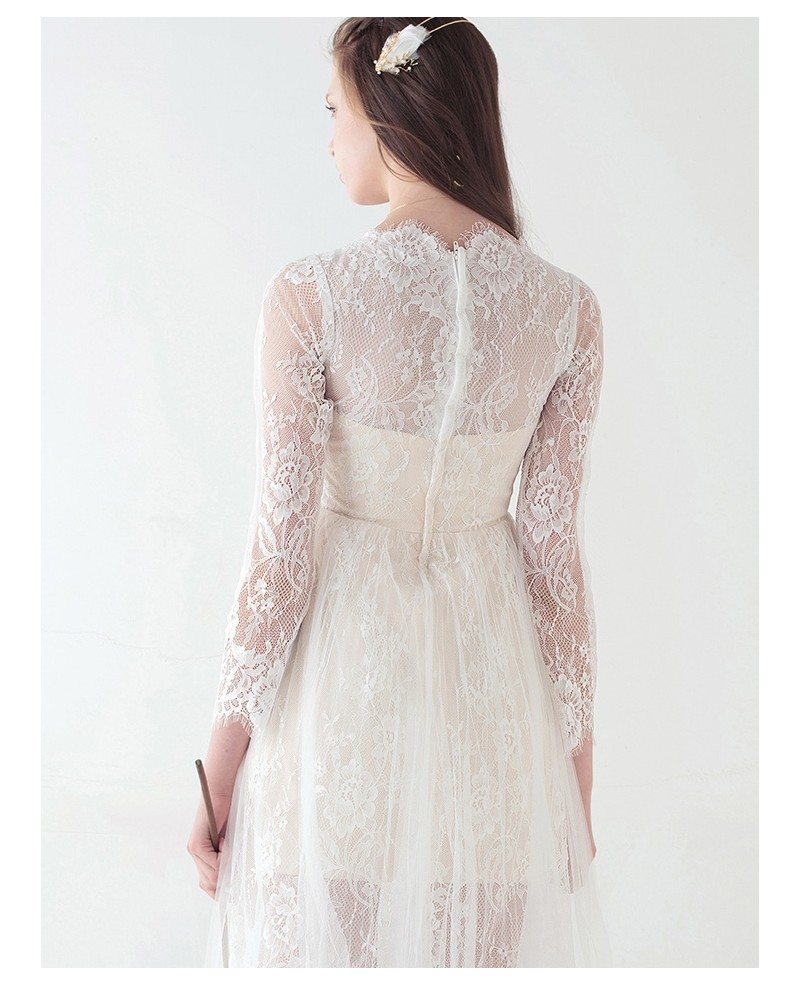 Vintage boho short wedding dresses with sleeves a line for Knee length wedding dresses with sleeves
