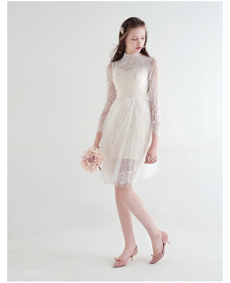 Modest A-Line High Neck Knee-Length Lace Tulle Wedding Dress ...