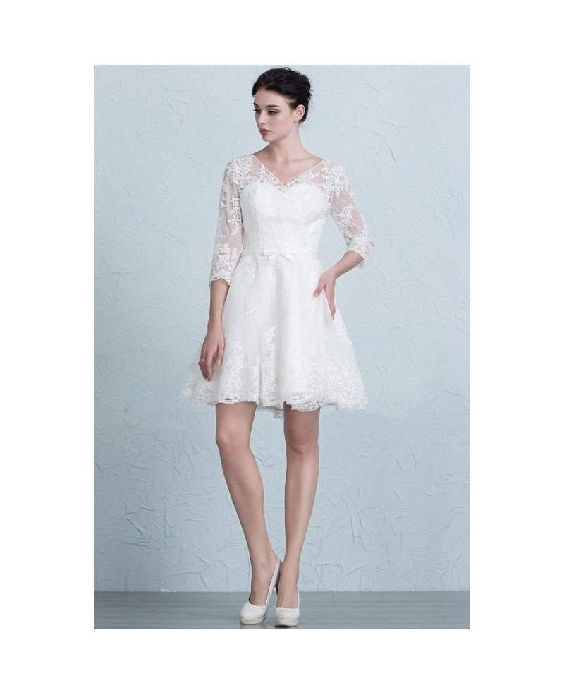 Modest A Line Short Wedding Dresses With Sleeves V-neck Tulle Style ...