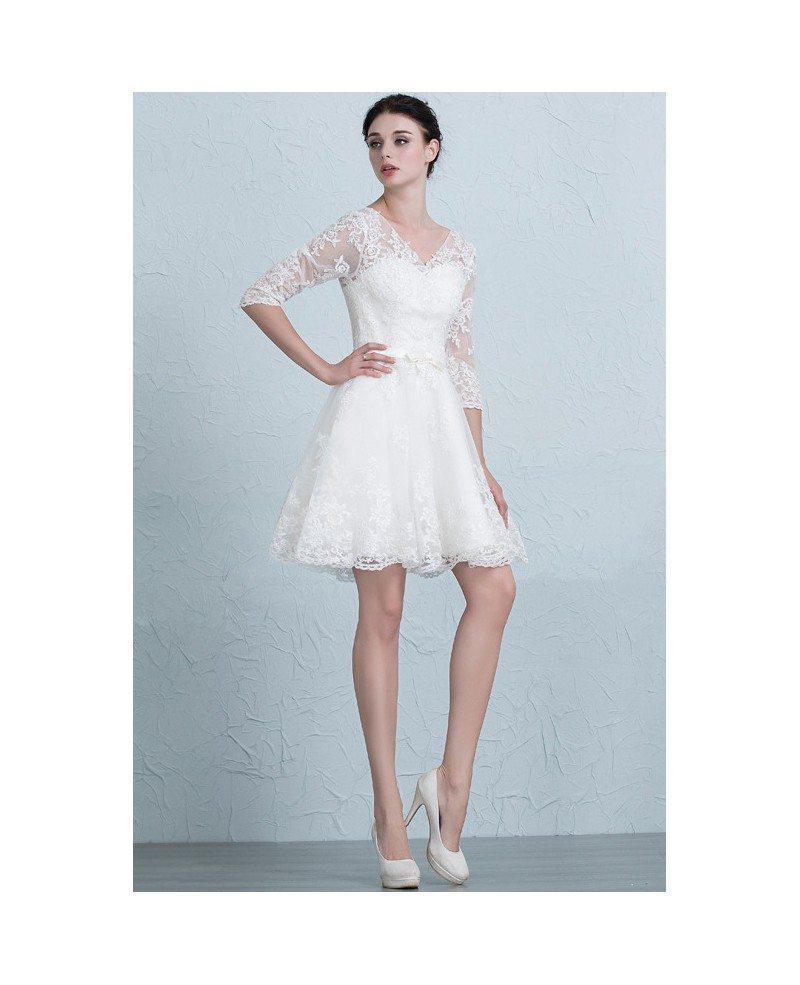 Modest a line short wedding dresses with sleeves v neck for V neck a line wedding dresses