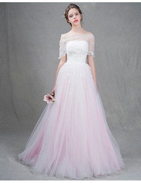 Grace Love Feminine Ball Gown Strapless Sweep Train Tulle Wedding Dress With Flowers