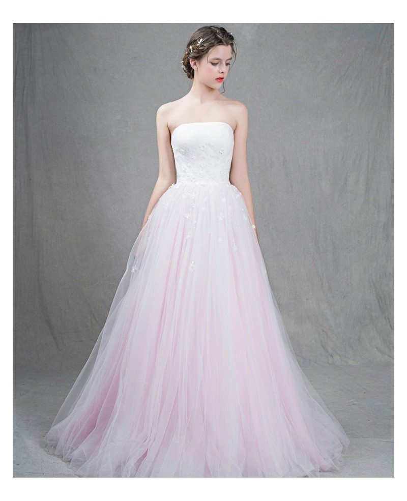 Feminine ball gown strapless sweep train tulle wedding for Tulle halter wedding dress