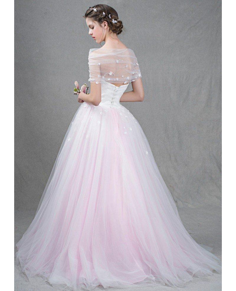 Strapless Wedding Dresses: Feminine Ball-Gown Strapless Sweep Train Tulle Wedding