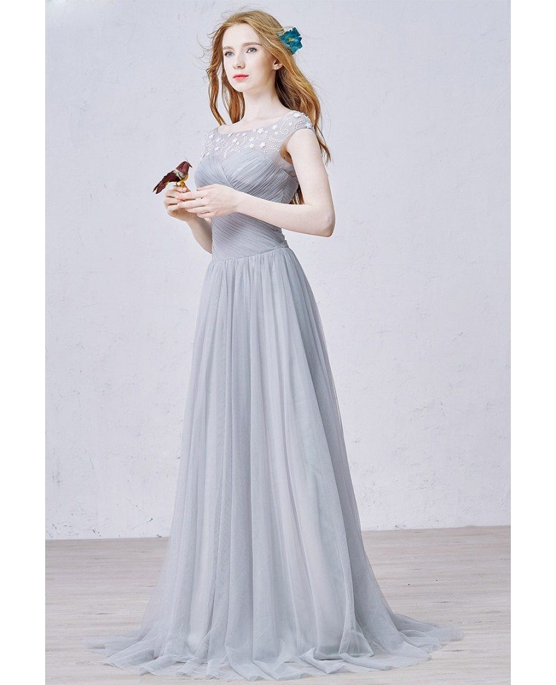 Modest a line scoop neck sweep train tulle bridesmaid for Modest a line wedding dresses