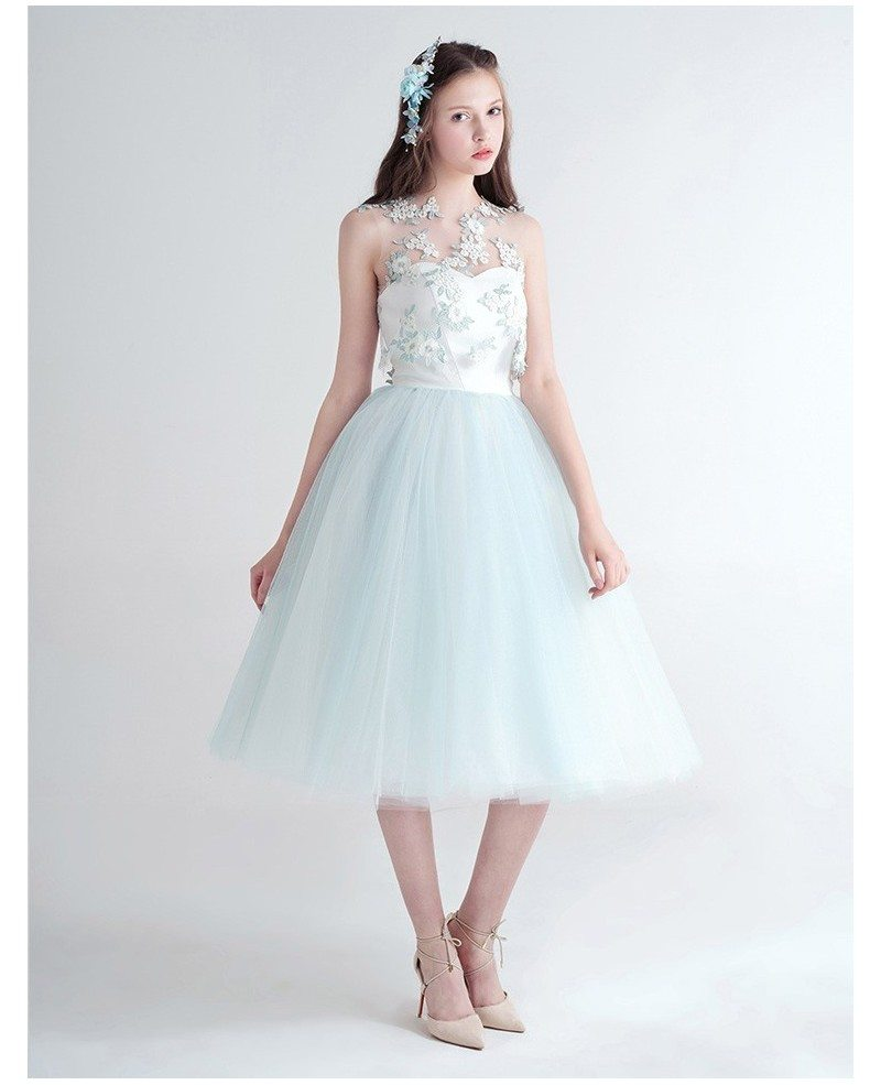 Cute Ball-Gown Strapless Tea-Length Tulle Dress With Flower Wrap ...