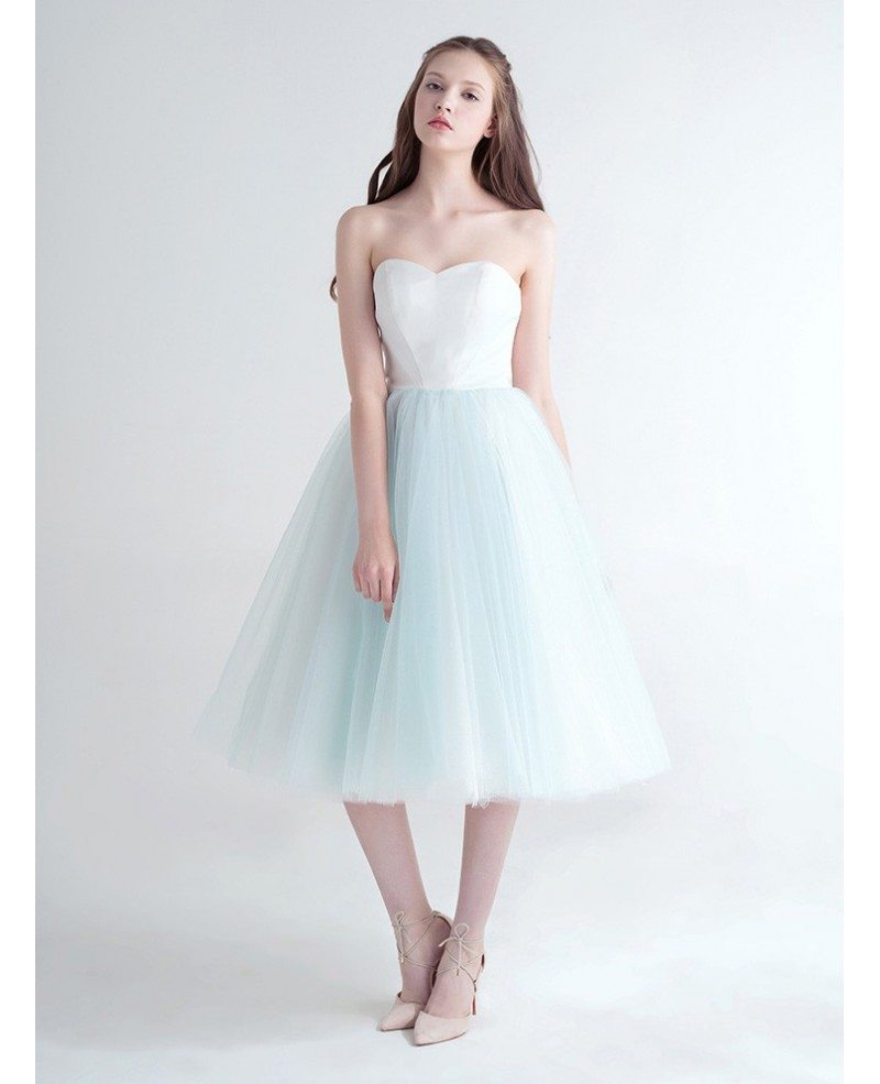 Tea Gown: Cute Ball-Gown Strapless Tea-Length Tulle Dress With