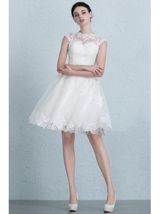 Vintage A-Line Scoop Neck Short Tulle Wedding Dress With Appliques Lace