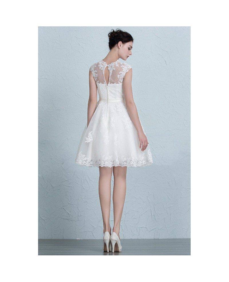 Lace a line short wedding dresses reception tulle style for Tulle a line wedding dress