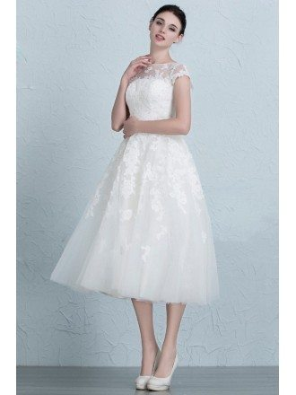 Vintage A-Line Scoop Neck Tea-Length Tulle Wedding Dress With Appliques Lace