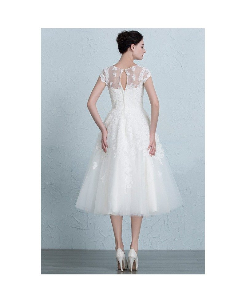Vintage Tea Length Wedding Dresses Empire Waist Lace Tulle