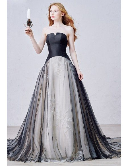 Unique Ball-Gown Strapless Court Train Tulle Wedding Dress ...