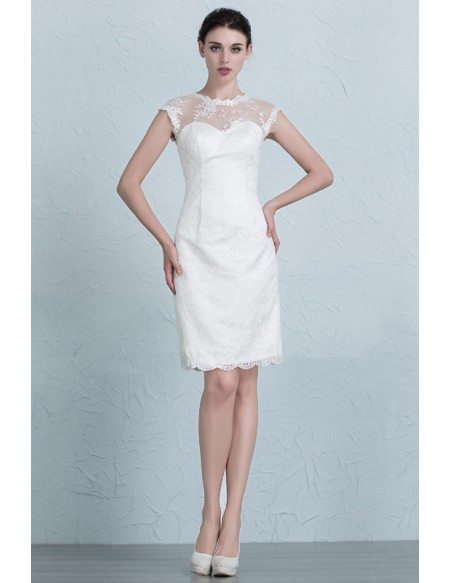 Grace Love Modest Sheath Scoop Neck Short Lace Wedding Dress