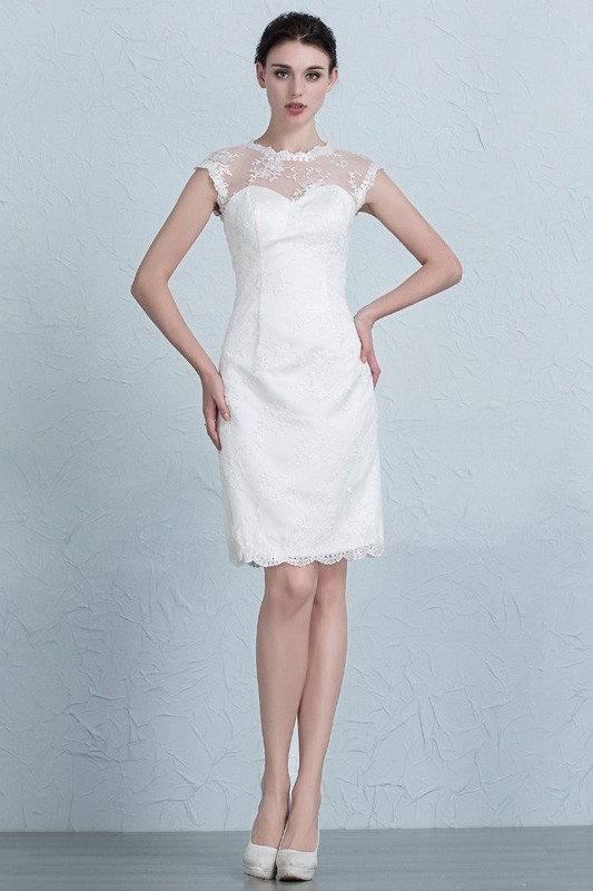 Elegant Tight Short Wedding Dresses Reception Modest Lace