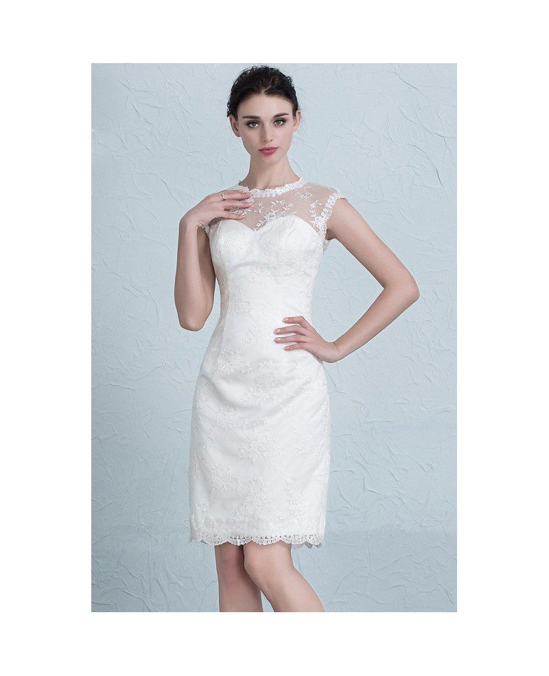 Elegant tight short wedding dresses reception modest lace for Short sheath wedding dress