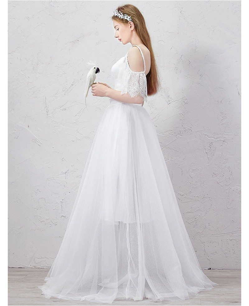 Romantic a line sweetheart detachable floor length tulle for Tulle a line wedding dress