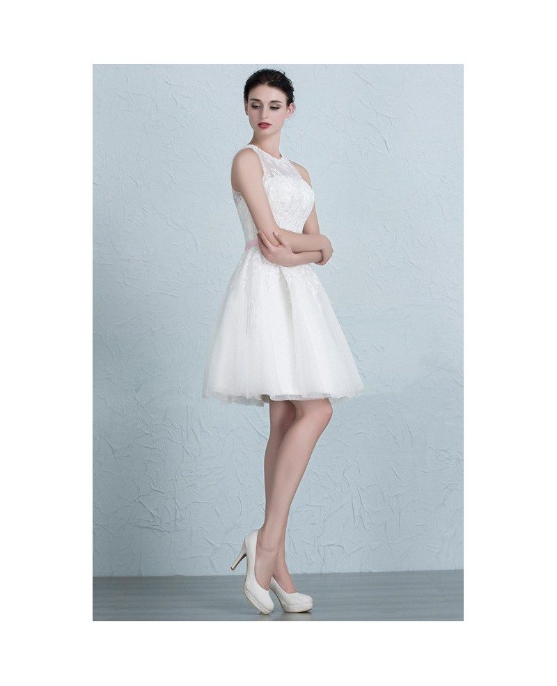 Mini lace tulle short wedding dresses ivory a line scoop for Cute short wedding dresses