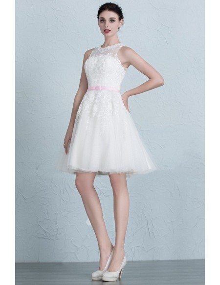 Mini Lace Tulle Short Wedding Dresses Ivory A-Line Scoop Neck Style ...
