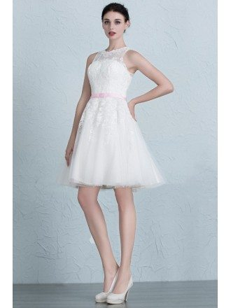 Cute A-Line Scoop Neck Short Tulle Wedding Dress With Appliques Lace