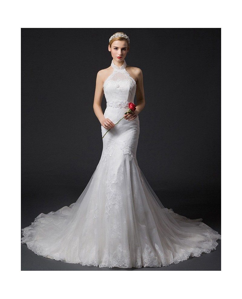 Romantic mermaid halter chapel train tulle wedding dress for Mermaid wedding dress with train