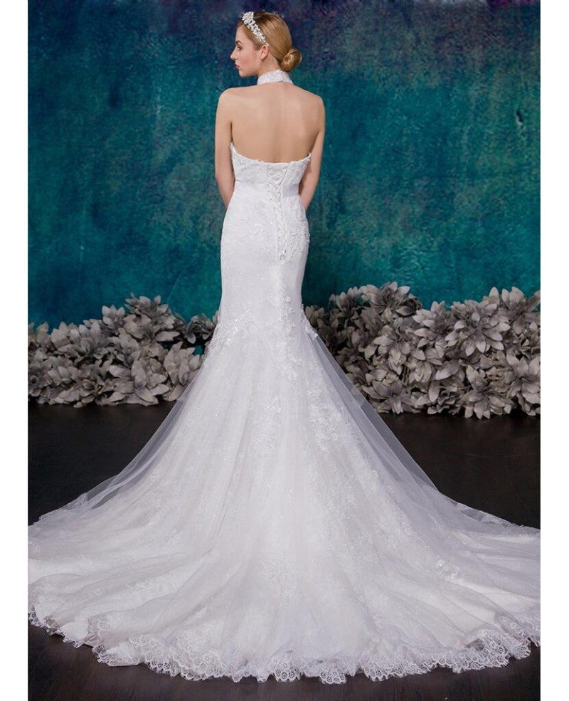 romantic mermaid halter chapel train tulle wedding dress