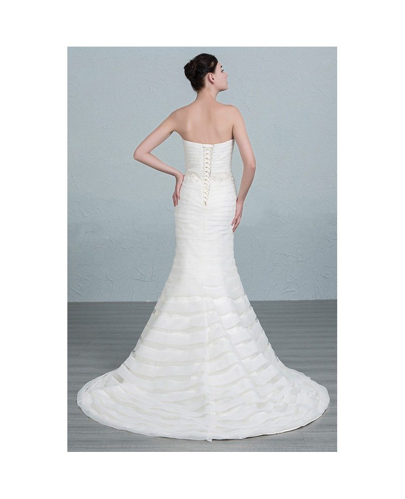 Elegant mermaid strapless sweep train organza wedding for Mermaid wedding dress with train