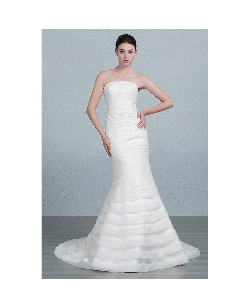 Elegant mermaid strapless sweep train organza wedding for Sweep train wedding dress