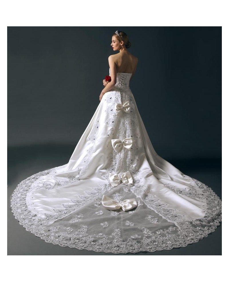 Wedding Dresses   Us : Glamourous ball gown sweetheart chapel train satin wedding