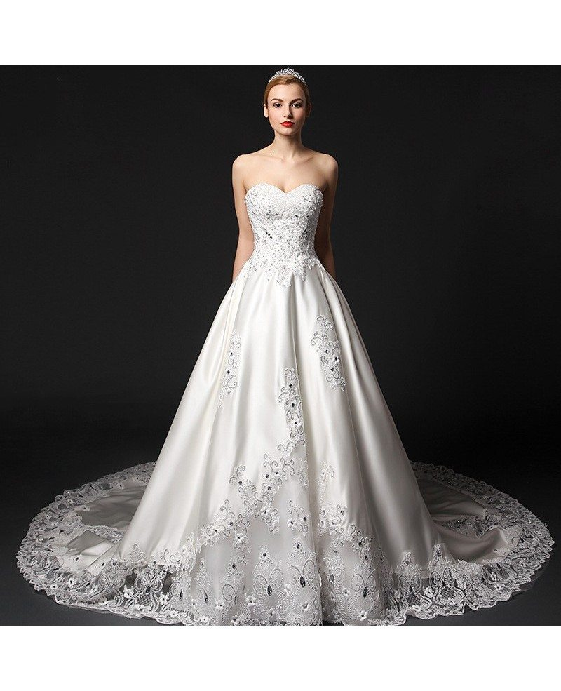 Glamourous ball gown sweetheart chapel train satin wedding for Beading for wedding dress