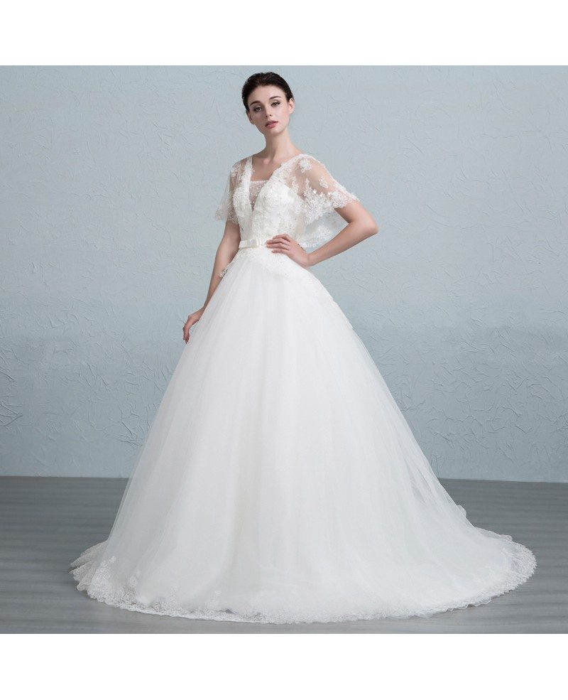 Dreamy Ball Gown Strapless Court Train Tulle Wedding Dress