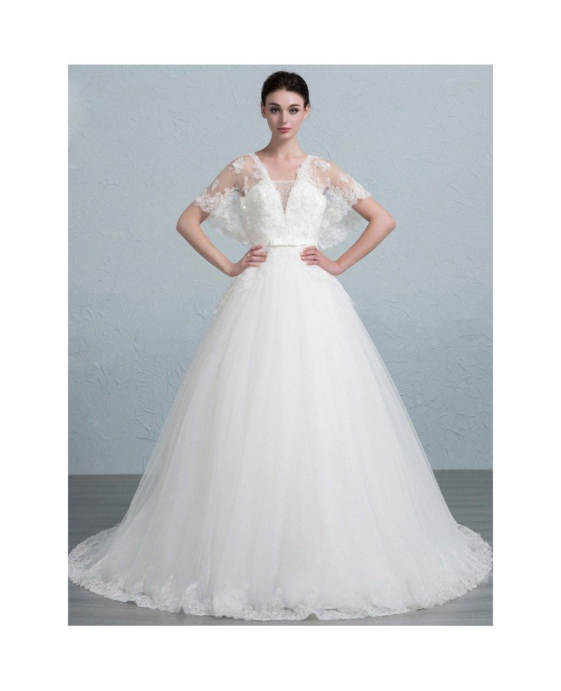 Dreamy Ball-Gown Strapless Court Train Tulle Wedding Dress With ...