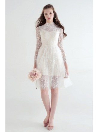 Modest A-Line High Neck Knee-Length Lace Tulle Wedding Dress