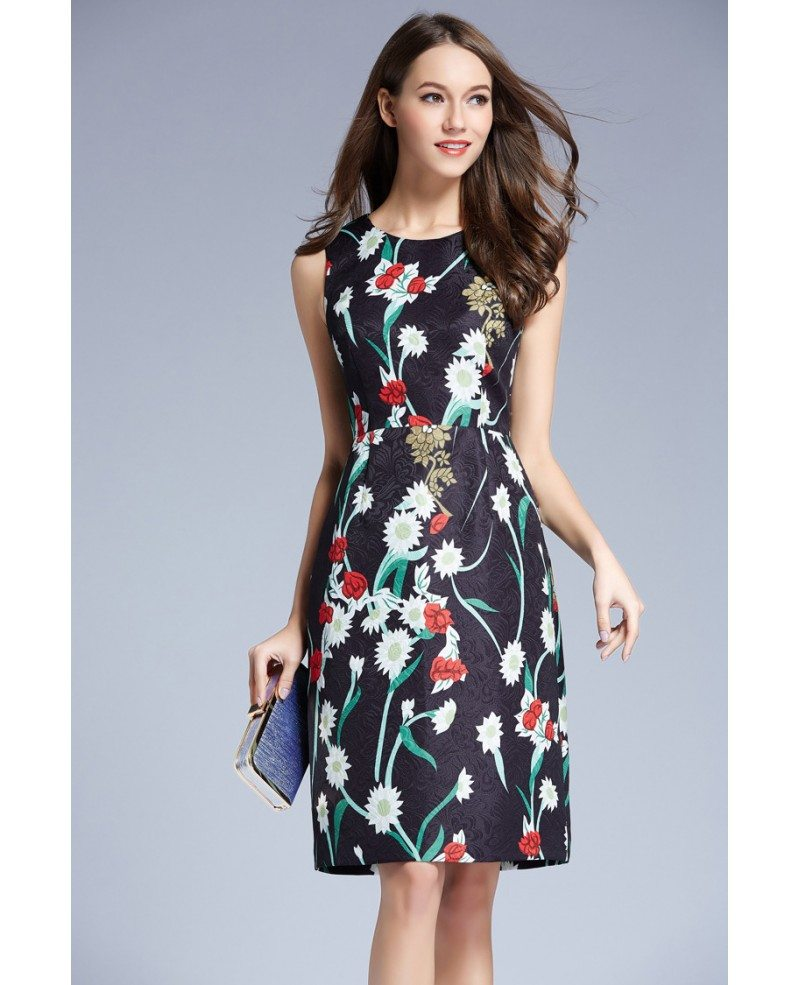 Summer Floral Printed A Line Chiffon Knee Length Wedding