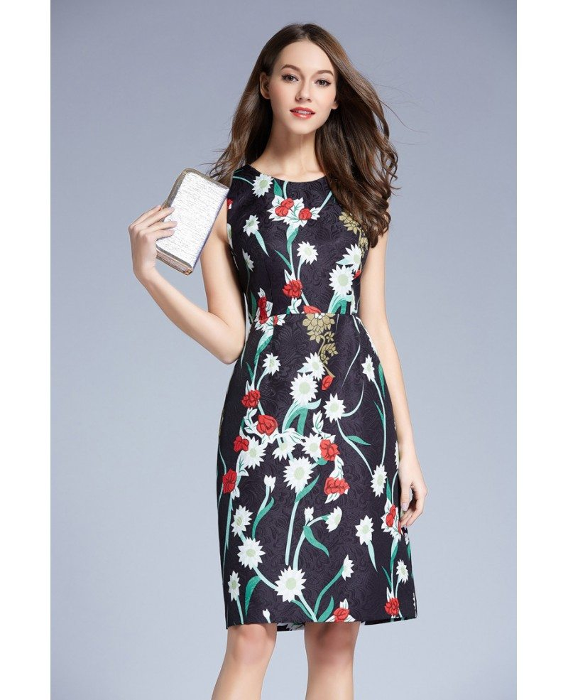 Summer Floral Printed A-Line Chiffon Knee Length Wedding Guest Dress ...