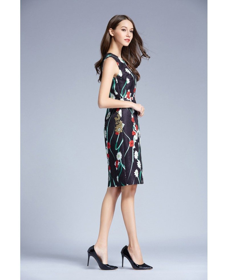 Summer Floral Printed A-Line Chiffon Knee Length Wedding Guest Dress ...