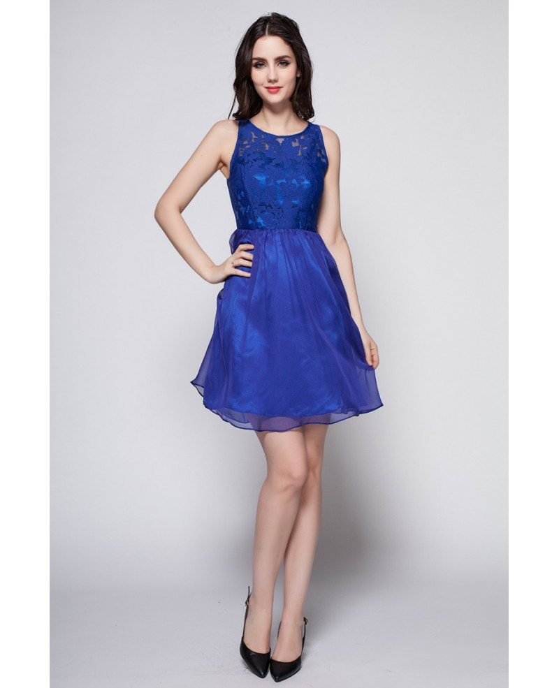 2016 Summer Blue Lace Top Short Dress Dk259 52 7