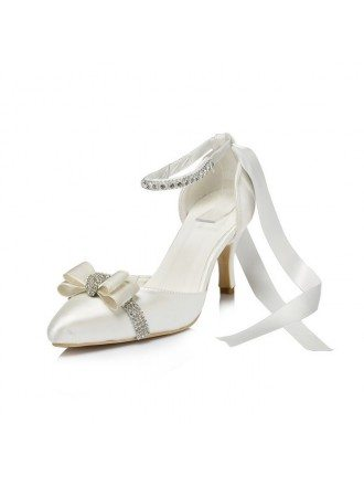 Satin Heel Closed Toe Pumps With Ribbon Rhinestone Style